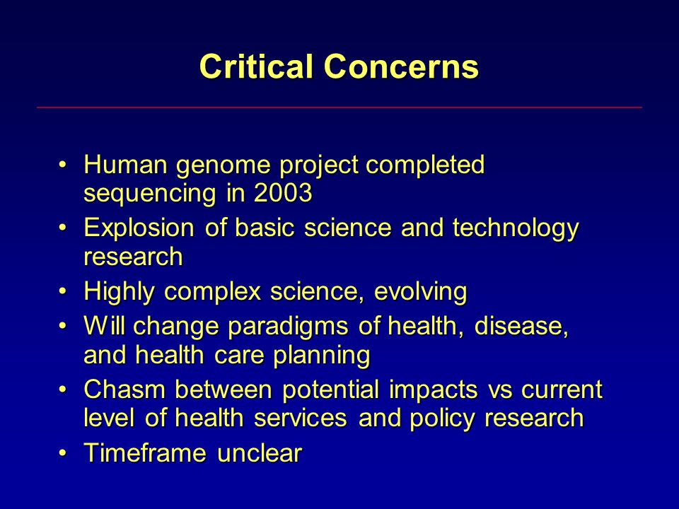 Critical Concerns Human genome project completed sequencing in 2003Human genome project completed sequencing in 2003 Explosion of basic science and technology researchExplosion of basic science and technology research Highly complex science, evolvingHighly complex science, evolving Will change paradigms of health, disease, and health care planningWill change paradigms of health, disease, and health care planning Chasm between potential impacts vs current level of health services and policy researchChasm between potential impacts vs current level of health services and policy research Timeframe unclearTimeframe unclear