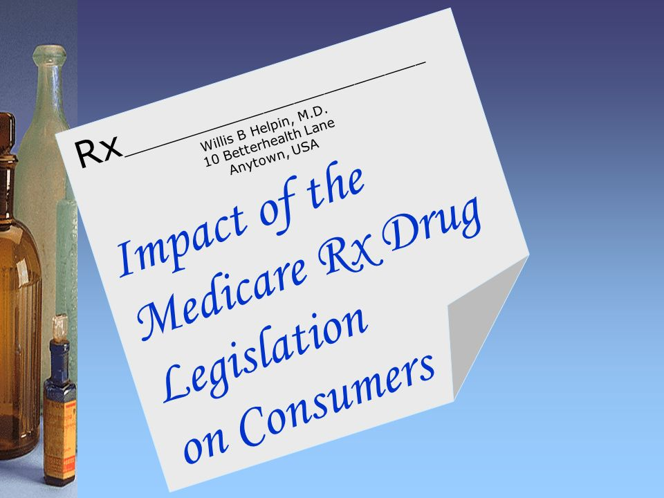 Impact of the Medicare Rx Drug Legislation on Consumers Rx ______________________________ Willis B Helpin, M.D.