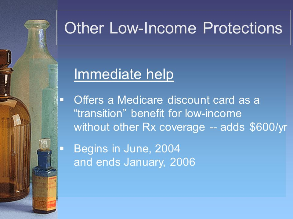 Other Low-Income Protections Offers a Medicare discount card as a transition benefit for low-income without other Rx coverage --adds $600/yr Begins in June, 2004 and ends January, 2006 Immediate help