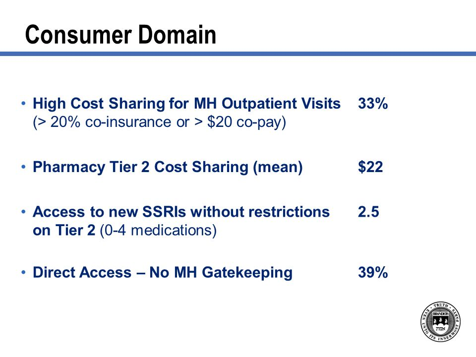 Consumer Domain High Cost Sharing for MH Outpatient Visits (> 20% co-insurance or > $20 co-pay) 33% Pharmacy Tier 2 Cost Sharing (mean)$22 Access to new SSRIs without restrictions on Tier 2 (0-4 medications) 2.5 Direct Access – No MH Gatekeeping39%