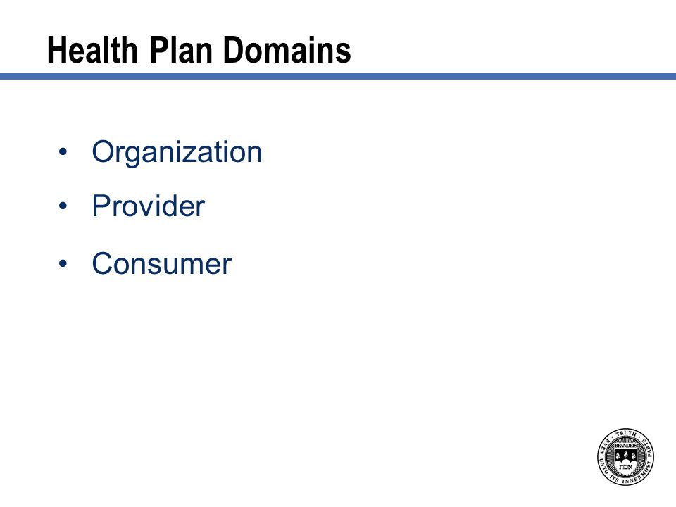 Health Plan Domains Organization Provider Consumer