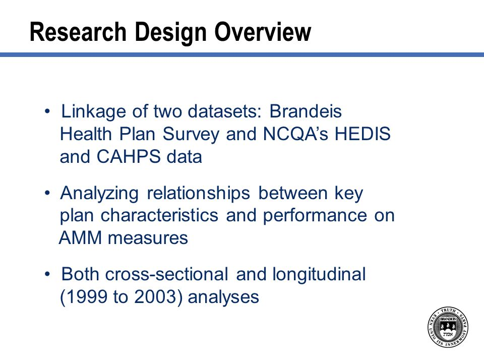 Research Design Overview Linkage of two datasets: Brandeis Health Plan Survey and NCQAs HEDIS and CAHPS data Analyzing relationships between key plan characteristics and performance on AMM measures Both cross-sectional and longitudinal (1999 to 2003) analyses