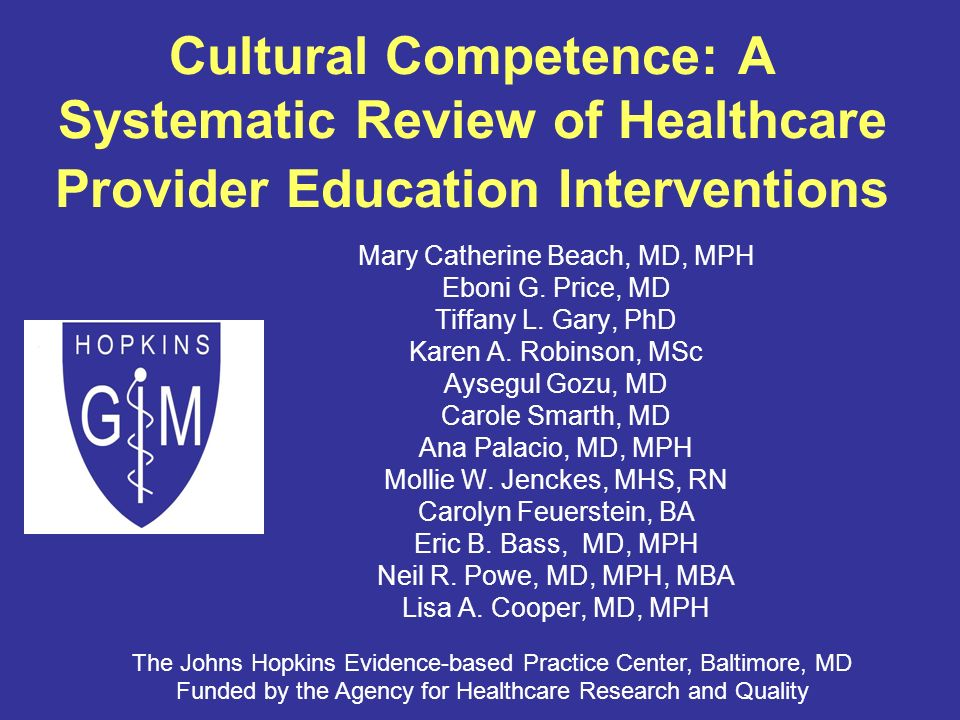 Cultural Competence: A Systematic Review of Healthcare Provider Education Interventions Mary Catherine Beach, MD, MPH Eboni G.