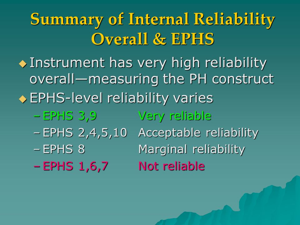 Summary of Internal Reliability Overall & EPHS Instrument has very high reliability overallmeasuring the PH construct Instrument has very high reliability overallmeasuring the PH construct EPHS-level reliability varies EPHS-level reliability varies –EPHS 3,9Very reliable –EPHS 2,4,5,10Acceptable reliability –EPHS 8Marginal reliability –EPHS 1,6,7Not reliable