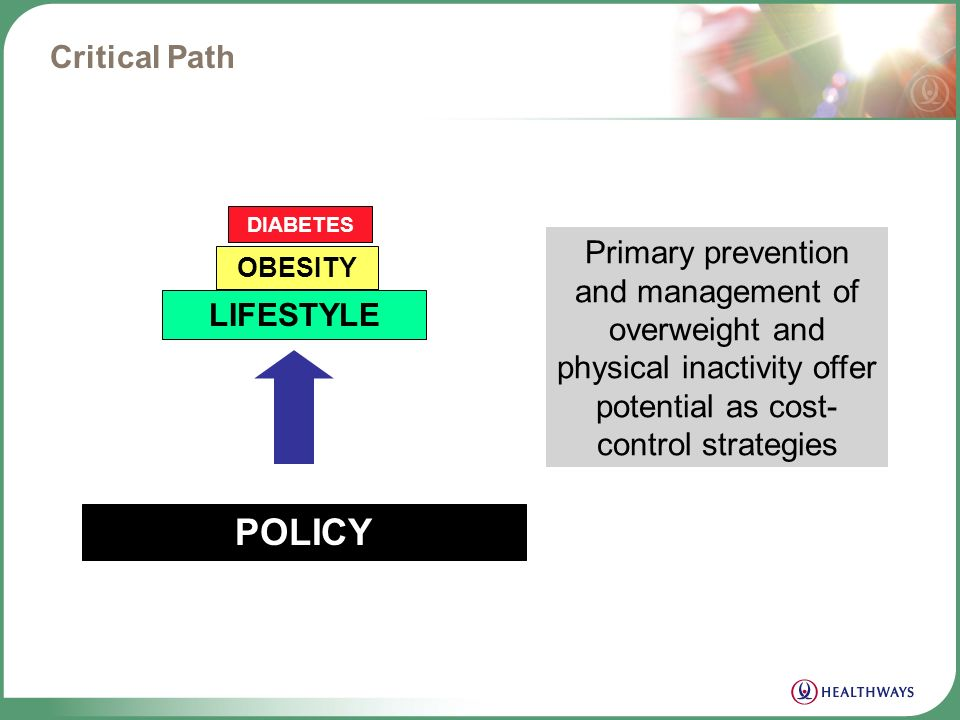 Where the discussion should lead POLICY Obesity Lifestyle Chronic Conditions Diabetes Heart Disease Cancer Osteoarthritis Absenteeism Premature Death Presenteeism Exercise Adequate Sleep Stress Management Healthy Diet Federal Local Community Employer Worksite