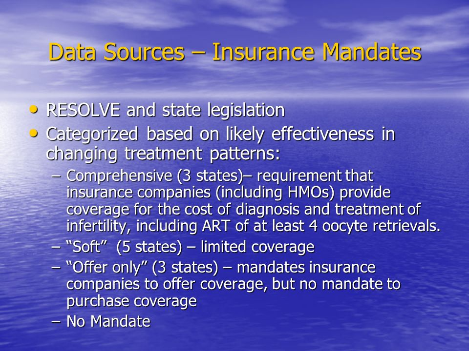 Data Sources – Insurance Mandates RESOLVE and state legislation RESOLVE and state legislation Categorized based on likely effectiveness in changing treatment patterns: Categorized based on likely effectiveness in changing treatment patterns: –Comprehensive (3 states)– requirement that insurance companies (including HMOs) provide coverage for the cost of diagnosis and treatment of infertility, including ART of at least 4 oocyte retrievals.