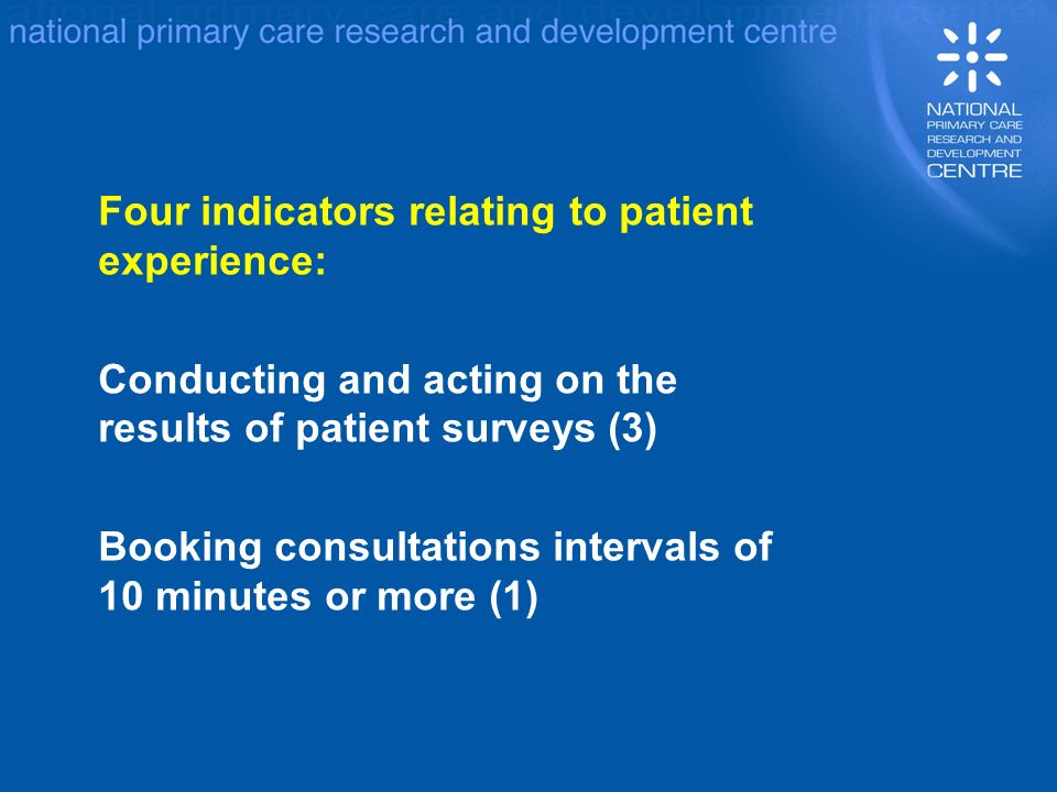 Four indicators relating to patient experience: Conducting and acting on the results of patient surveys (3) Booking consultations intervals of 10 minutes or more (1)