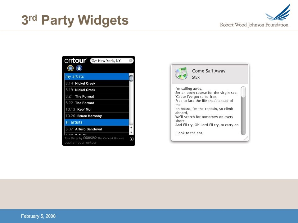 February 5, 2008 3 rd Party Widgets