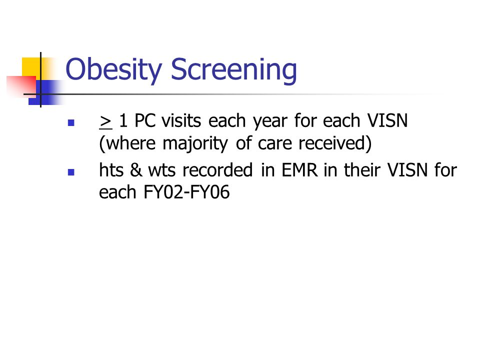 Obesity Screening > 1 PC visits each year for each VISN (where majority of care received) hts & wts recorded in EMR in their VISN for each FY02-FY06