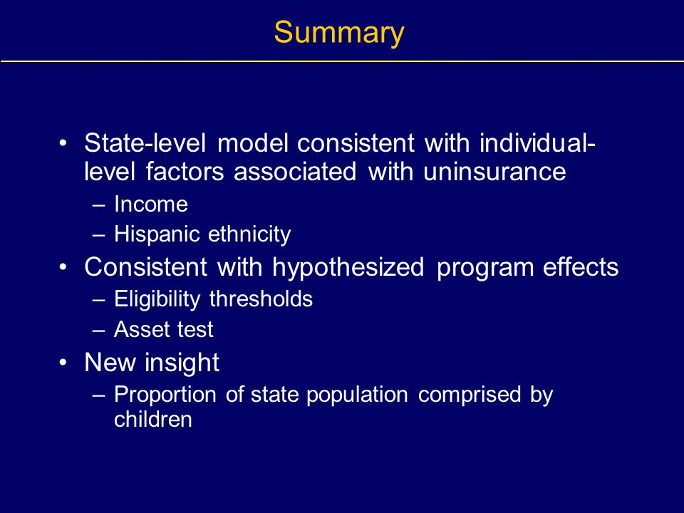 Summary State-level model consistent with individual- level factors associated with uninsurance –Income –Hispanic ethnicity Consistent with hypothesiz