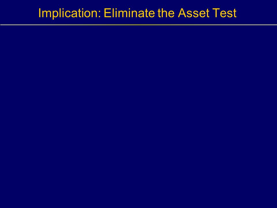 Implication: Eliminate the Asset Test