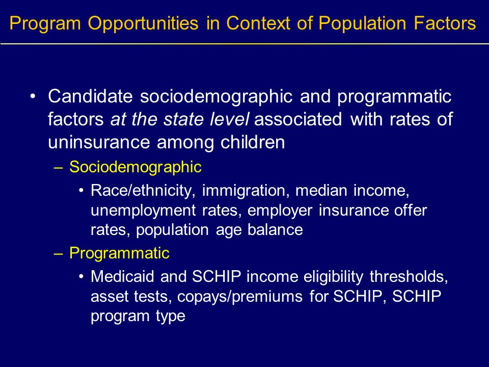 Program Opportunities in Context of Population Factors Candidate sociodemographic and programmatic factors at the state level associated with rates of