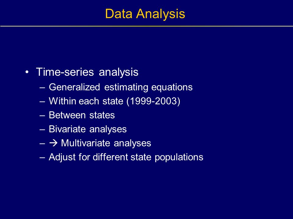 Data Analysis Time-series analysis –Generalized estimating equations –Within each state (1999-2003) –Between states –Bivariate analyses – Multivariate