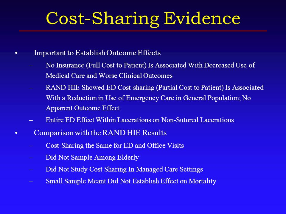 Objective To Investigate the Impact of Cost-sharing for Emergency Care on Emergency Department (ED) Visits, Deaths, Hospitalizations, and ICU Admissions