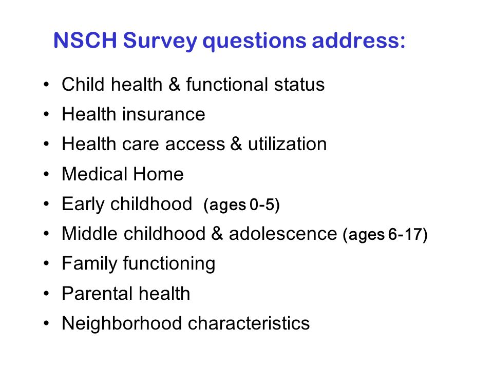 Directly search for data from a set of standardized measures about child, youth and family health, needs, and health care quality Interactively compare national, state, and regional survey results by geographic area and socio-demographic groups Learn to use data more effectively to assess needs and performance as well as to check assumptions Discover how other state and family leaders are using data to inform and stimulate systemsdevelopment and change Get expert help via e-mail, telephone, or through a series of in-person or online skills building workshops Data Resource Center Functions