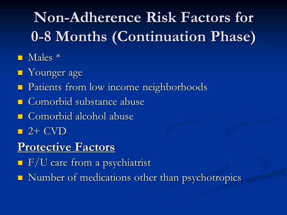 Non-Adherence Risk Factors for 0-8 Months (Continuation Phase) Males * Males * Younger age Younger age Patients from low income neighborhoods Patients from low income neighborhoods Comorbid substance abuse Comorbid substance abuse Comorbid alcohol abuse Comorbid alcohol abuse 2+ CVD 2+ CVD Protective Factors F/U care from a psychiatrist F/U care from a psychiatrist Number of medications other than psychotropics Number of medications other than psychotropics