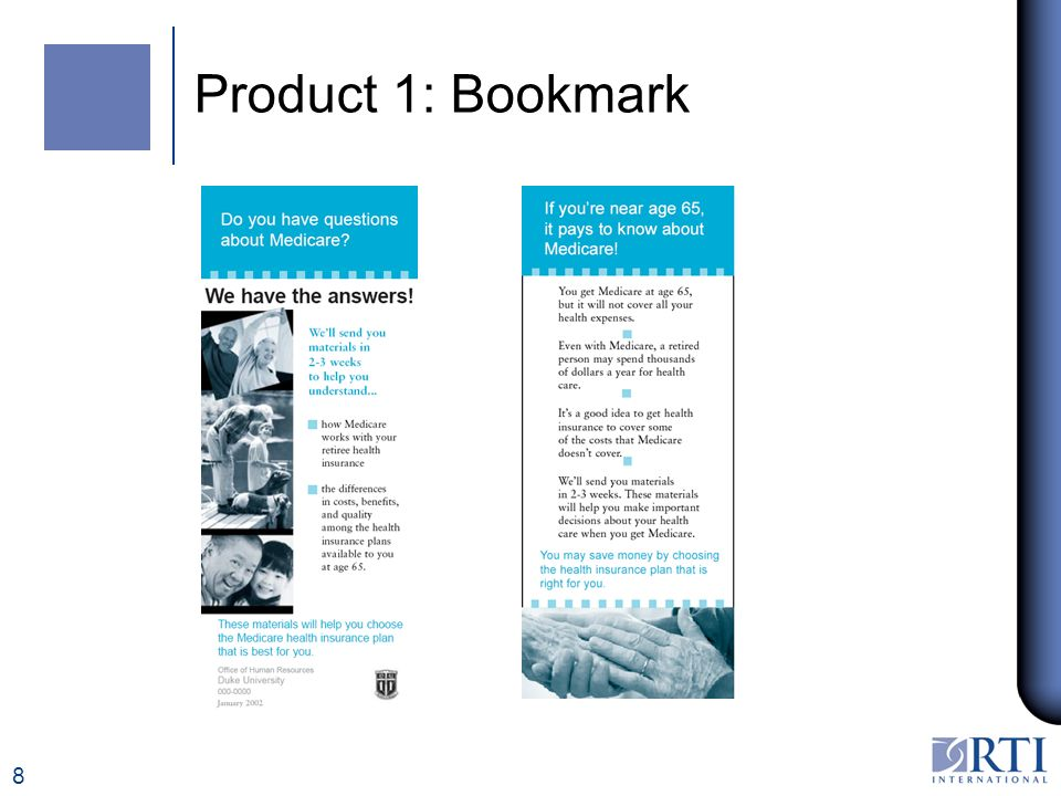 8 Product 1: Bookmark