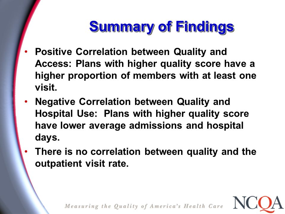 Summary of Findings Positive Correlation between Quality and Access: Plans with higher quality score have a higher proportion of members with at least one visit.