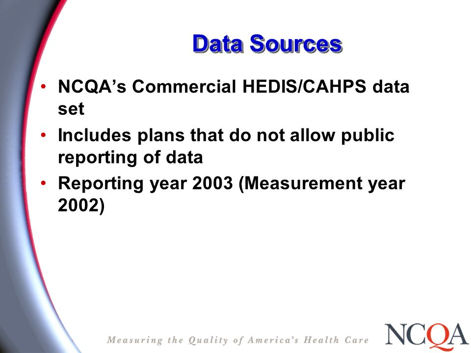 Data Sources NCQAs Commercial HEDIS/CAHPS data set Includes plans that do not allow public reporting of data Reporting year 2003 (Measurement year 2002)