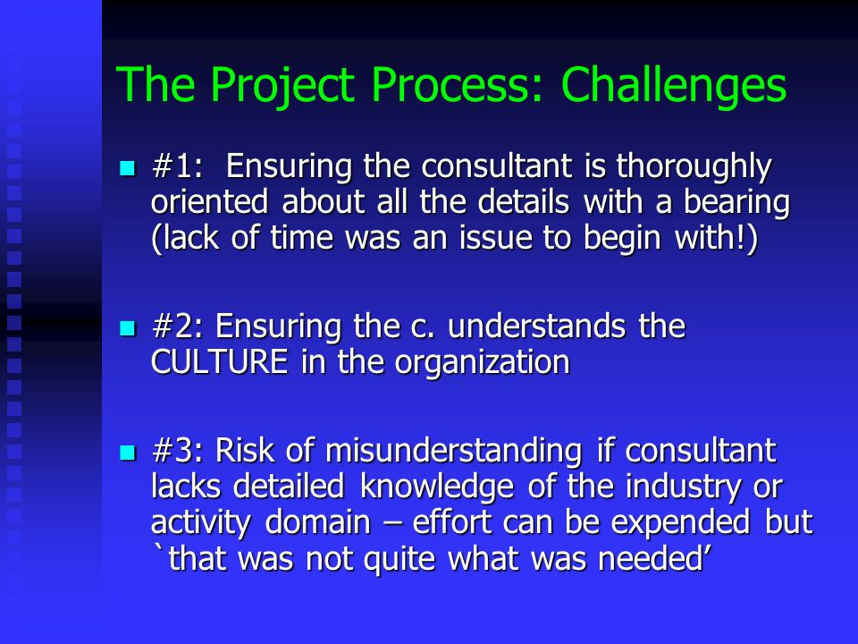 The Project Process: Challenges #1: Ensuring the consultant is thoroughly oriented about all the details with a bearing (lack of time was an issue to begin with!) #1: Ensuring the consultant is thoroughly oriented about all the details with a bearing (lack of time was an issue to begin with!) #2: Ensuring the c.
