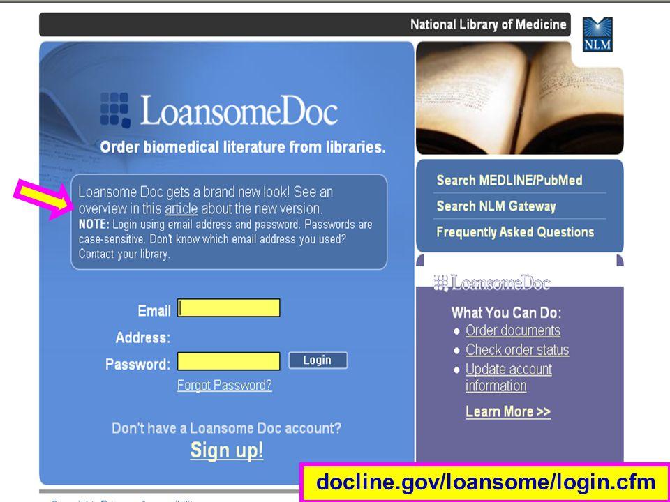 Loansome Doc (1) docline.gov/loansome/login.cfm