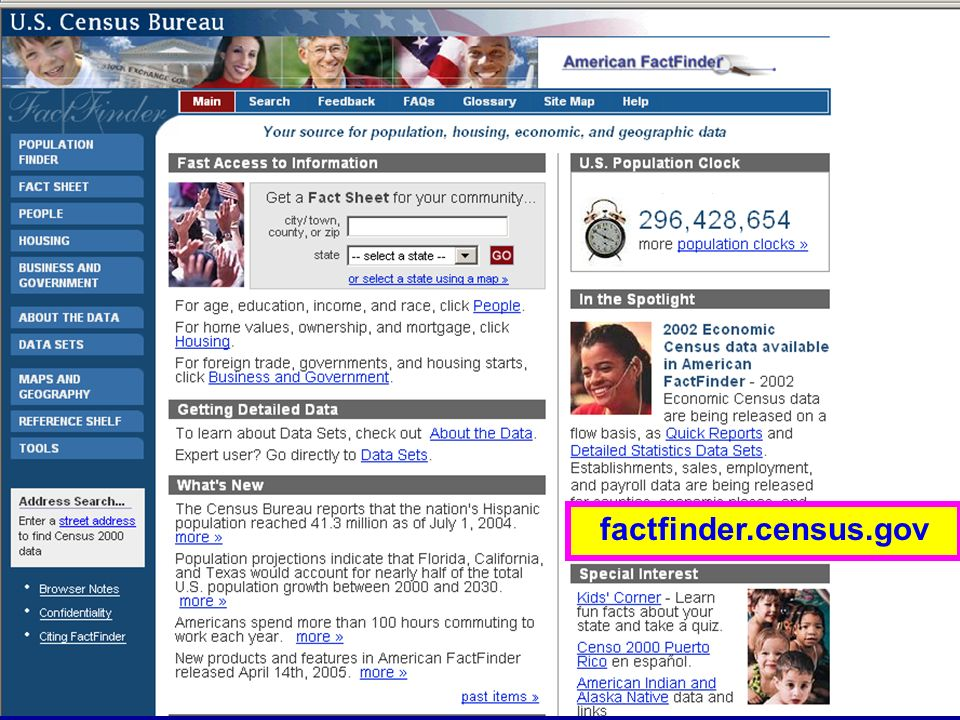 American Fact Finder factfinder.census.gov