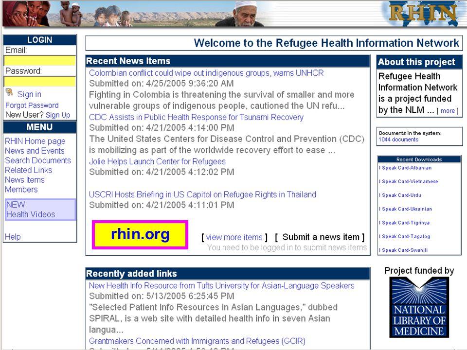 Refugee Health Info Network rhin.org