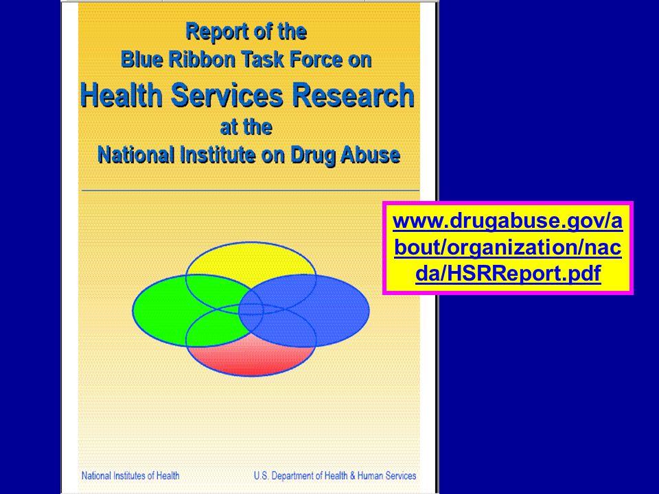 NIDA HSR Report www.drugabuse.gov/a bout/organization/nac da/HSRReport.pdf