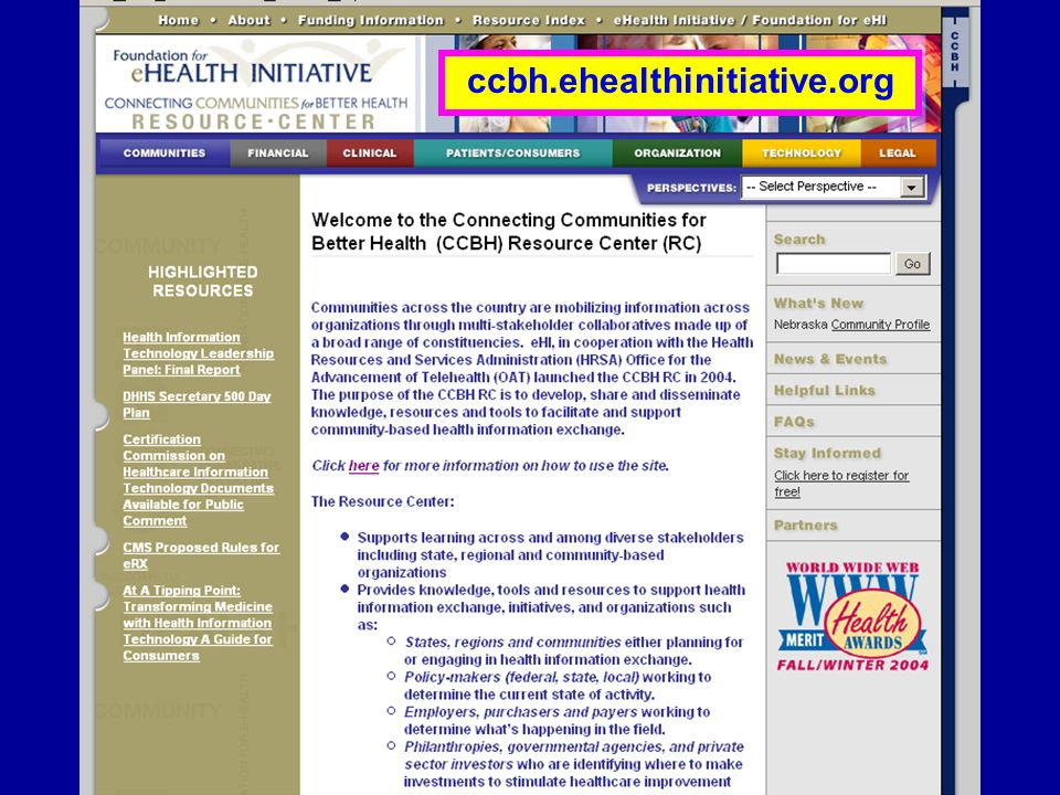 Connecting Communities for Better Health Learning Network ccbh.ehealthinitiative.org