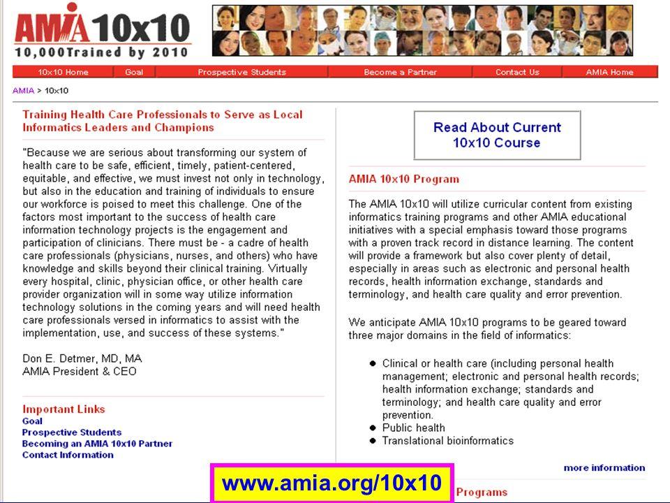 AMIA 10x10 www.amia.org/10x10