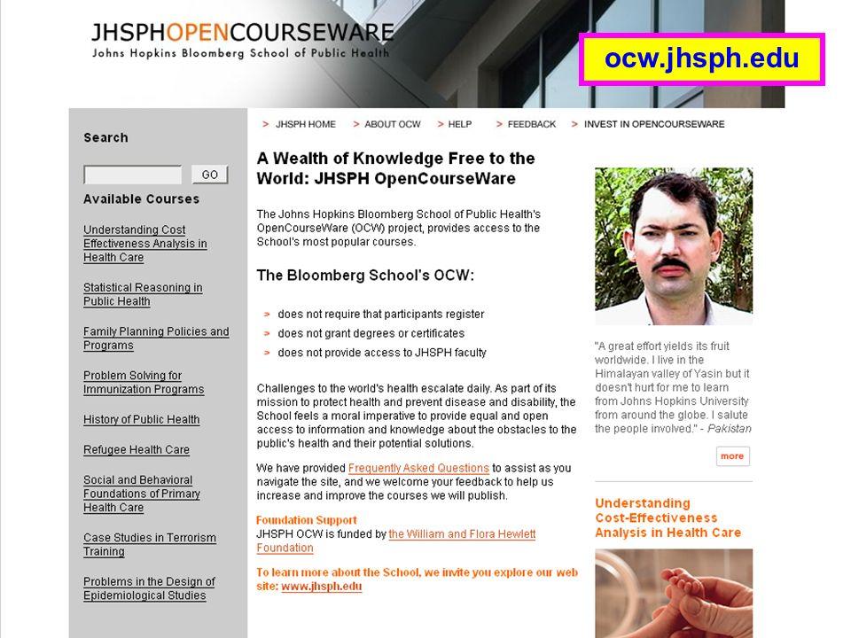 JHSPH OpenCourseWare ocw.jhsph.edu