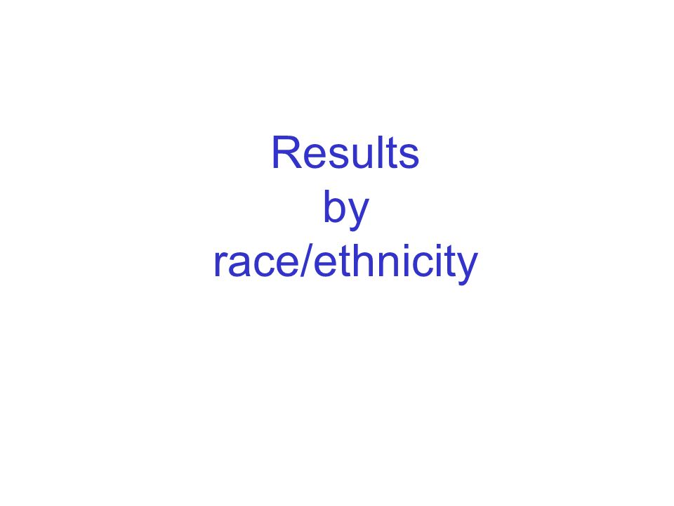 6 Results by race/ethnicity