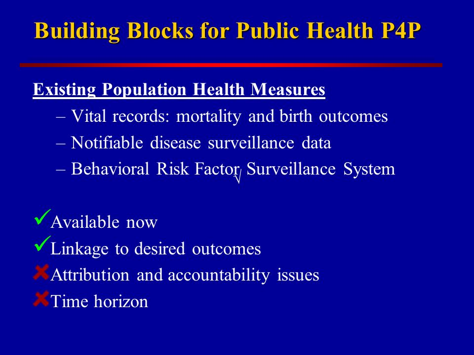 Building Blocks for Public Health P4P Existing Population Health Measures –Vital records: mortality and birth outcomes –Notifiable disease surveillance data –Behavioral Risk Factor Surveillance System Available now Linkage to desired outcomes Attribution and accountability issues Time horizon