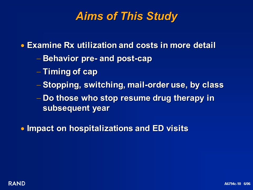 A6794c-10 6/06 Aims of This Study Examine Rx utilization and costs in more detail Examine Rx utilization and costs in more detail Behavior pre- and post-cap Behavior pre- and post-cap Timing of cap Timing of cap Stopping, switching, mail-order use, by class Stopping, switching, mail-order use, by class Do those who stop resume drug therapy in subsequent year Do those who stop resume drug therapy in subsequent year Impact on hospitalizations and ED visits Impact on hospitalizations and ED visits