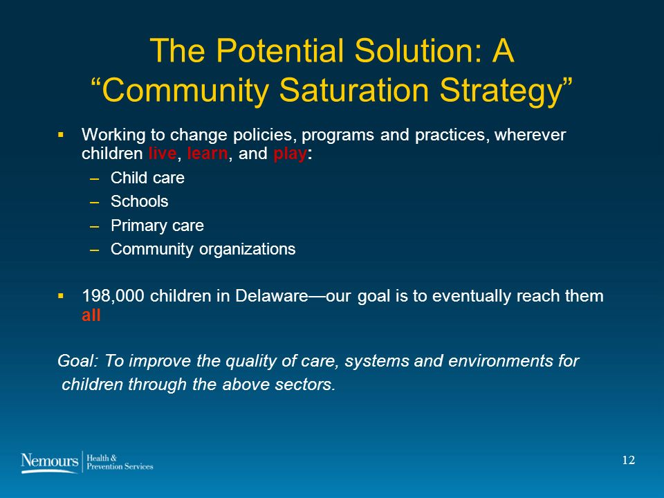 12 The Potential Solution: A Community Saturation Strategy Working to change policies, programs and practices, wherever children live, learn, and play: –Child care –Schools –Primary care –Community organizations 198,000 children in Delawareour goal is to eventually reach them all Goal: To improve the quality of care, systems and environments for children through the above sectors.