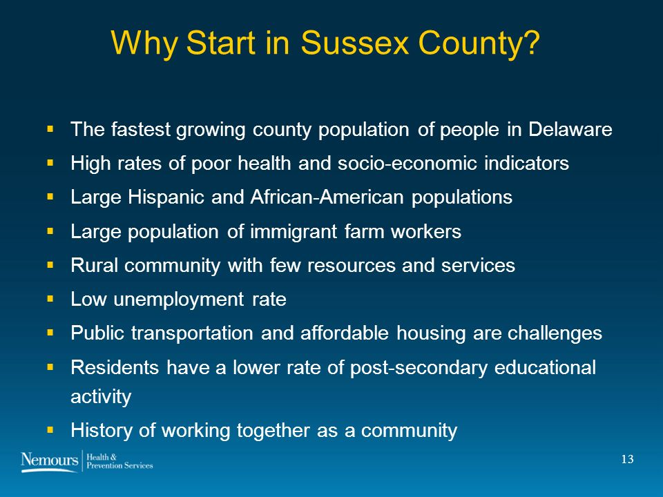 13 Why Start in Sussex County.