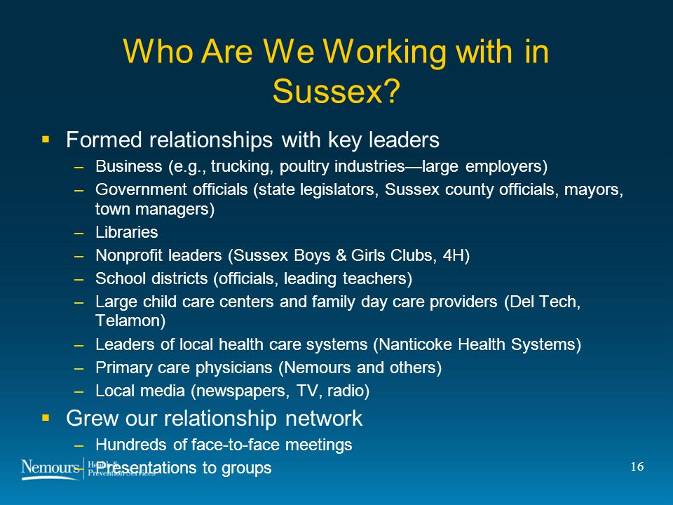 16 Who Are We Working with in Sussex.