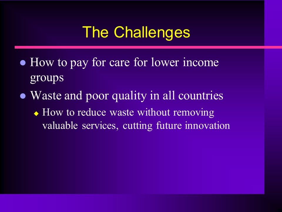 The Challenges How to pay for care for lower income groups Waste and poor quality in all countries How to reduce waste without removing valuable services, cutting future innovation