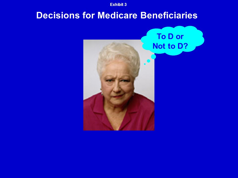 Decisions for Medicare Beneficiaries Exhibit 3 To D or Not to D?