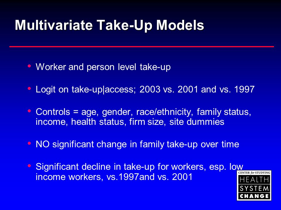 Multivariate Take-Up Models Worker and person level take-up Logit on take-up|access; 2003 vs.
