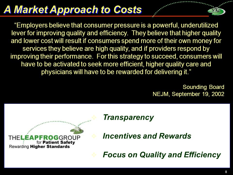 8 A Market Approach to Costs Employers believe that consumer pressure is a powerful, underutilized lever for improving quality and efficiency.