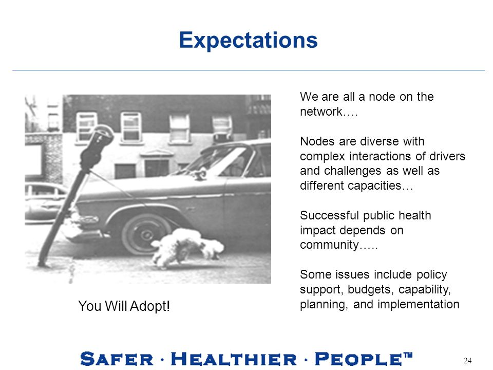 24 Expectations We are all a node on the network….