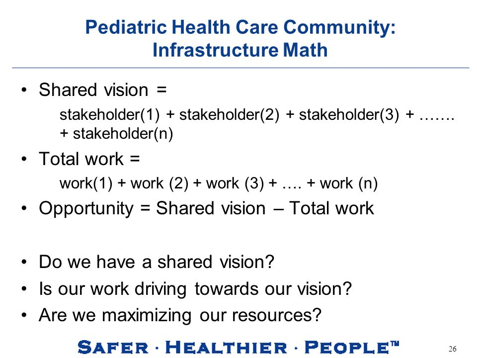 26 Pediatric Health Care Community: Infrastructure Math Shared vision = stakeholder(1) + stakeholder(2) + stakeholder(3) + …….