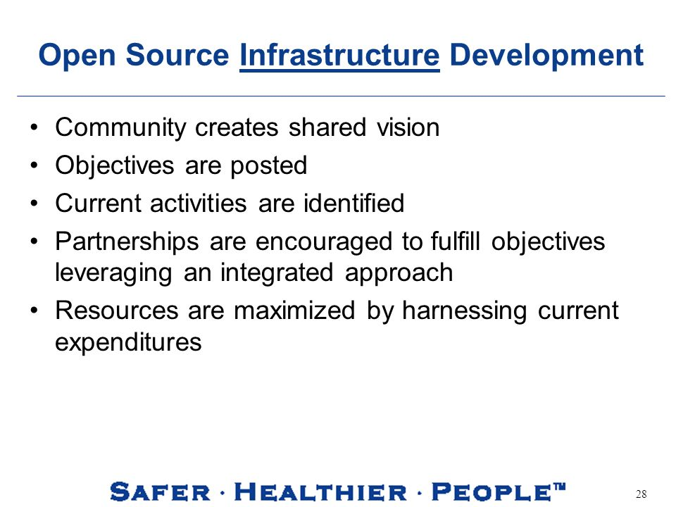 28 Open Source Infrastructure Development Community creates shared vision Objectives are posted Current activities are identified Partnerships are enc