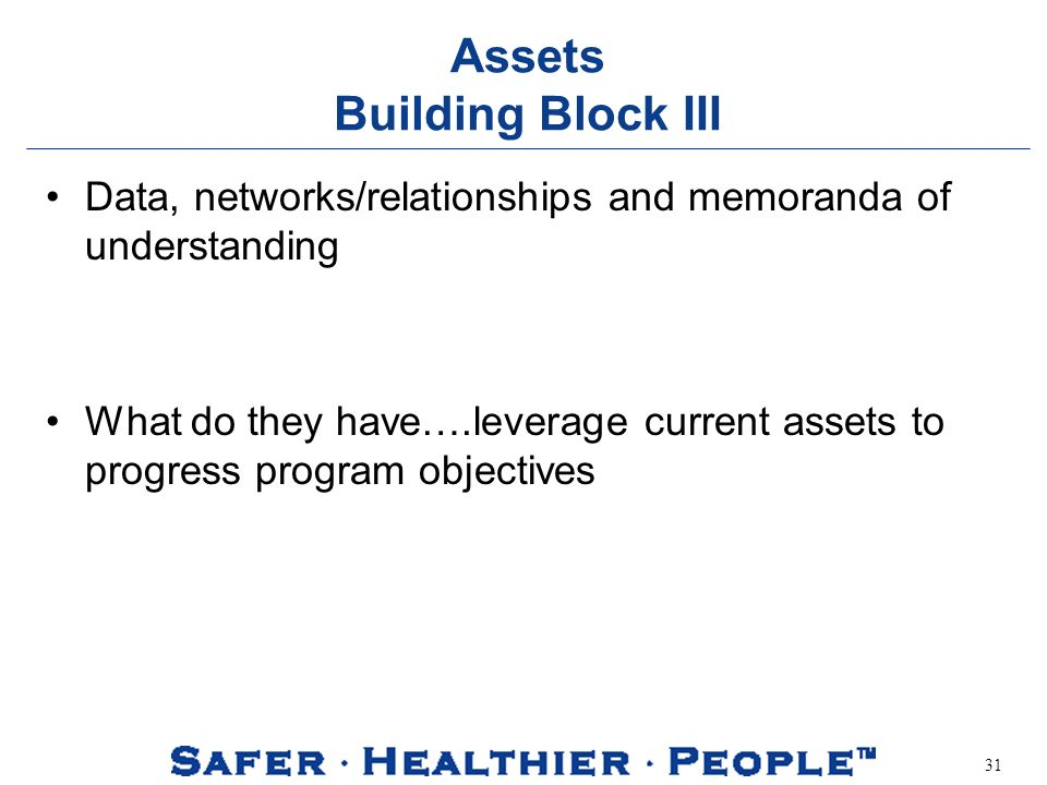 31 Assets Building Block III Data, networks/relationships and memoranda of understanding What do they have….leverage current assets to progress progra