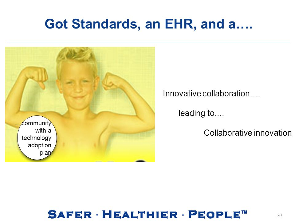 37 Got Standards, an EHR, and a…. …community with a technology adoption plan Innovative collaboration…. leading to.... Collaborative innovation