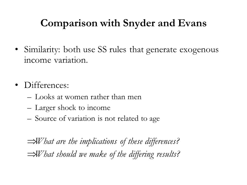 Comparison with Snyder and Evans Similarity: both use SS rules that generate exogenous income variation. Differences: –Looks at women rather than men