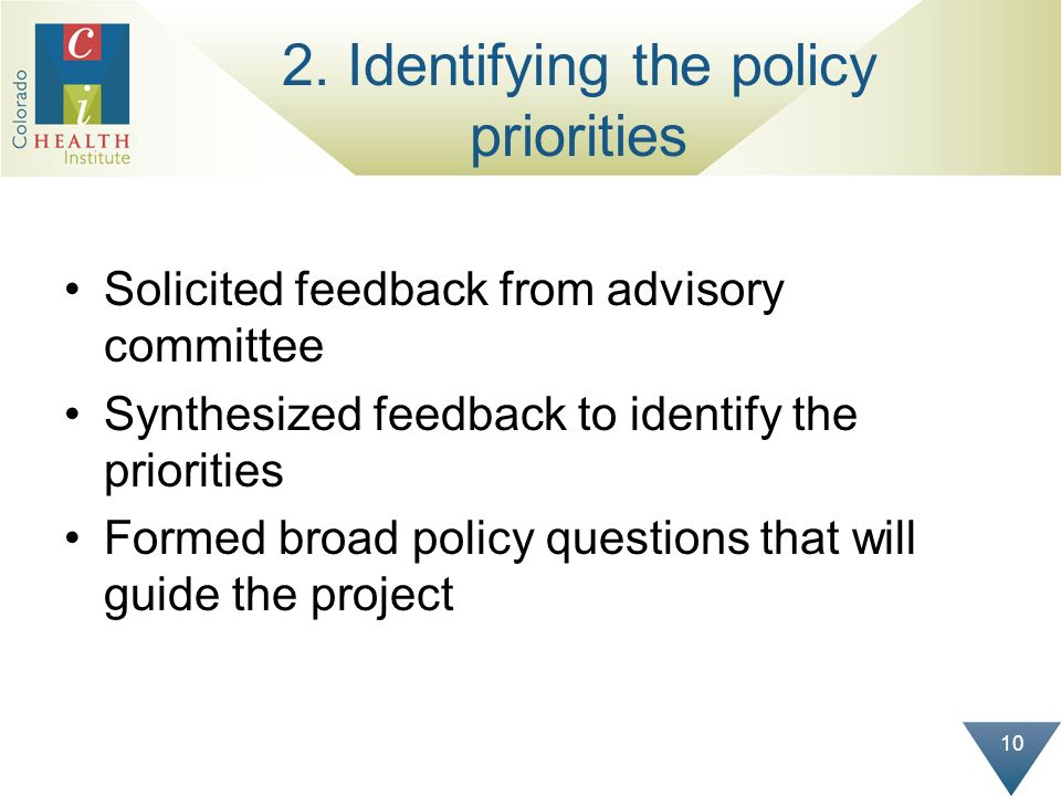 10 2. Identifying the policy priorities Solicited feedback from advisory committee Synthesized feedback to identify the priorities Formed broad policy