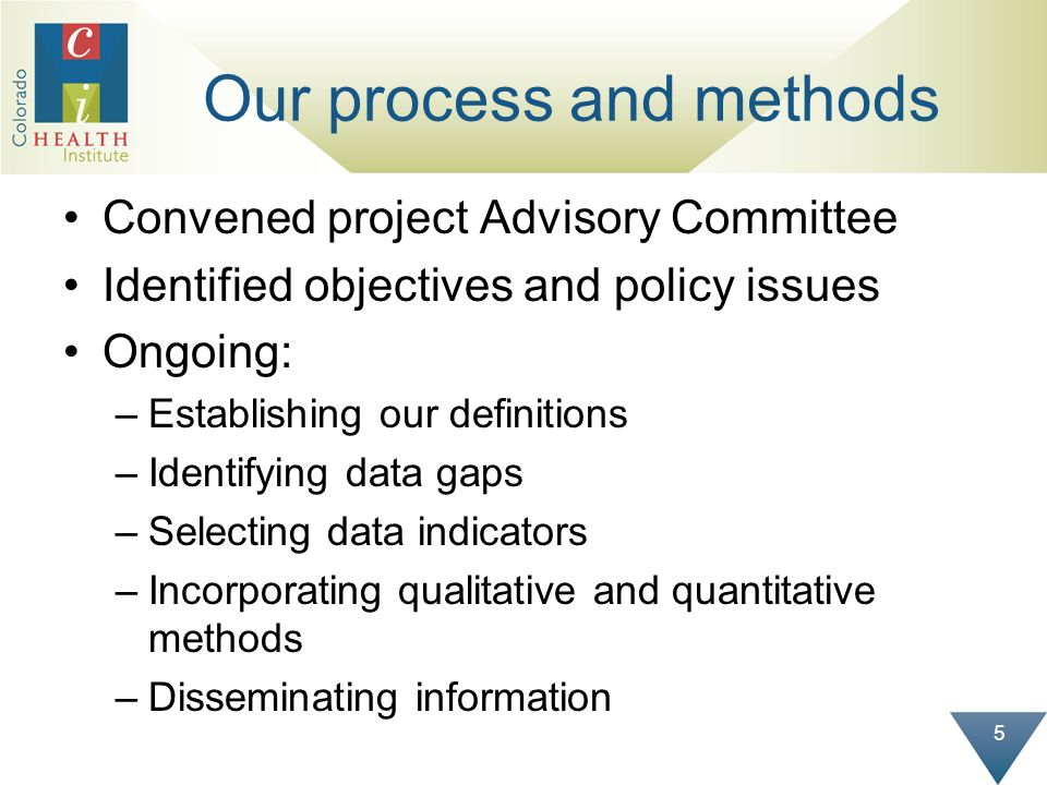 5 Our process and methods Convened project Advisory Committee Identified objectives and policy issues Ongoing: –Establishing our definitions –Identify