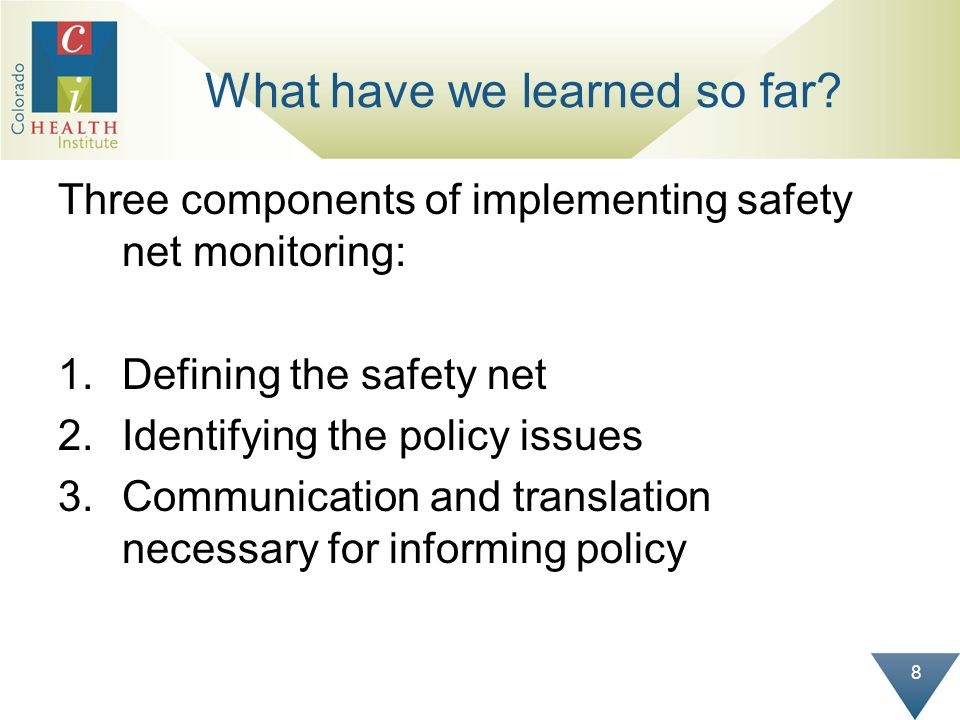 8 What have we learned so far? Three components of implementing safety net monitoring: 1.Defining the safety net 2.Identifying the policy issues 3.Com
